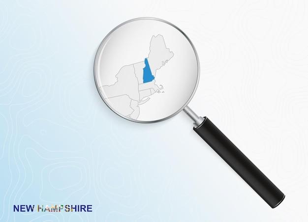 Vergrootglas met kaart van new hampshire op abstracte topografische achtergrond.