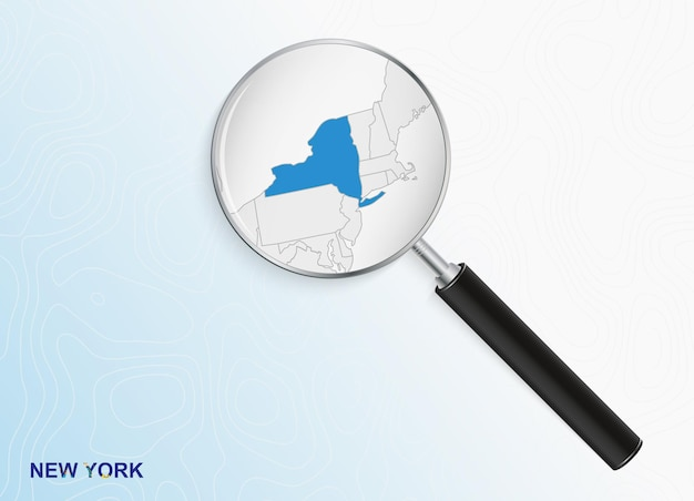 Vergrootglas met kaart van new york op abstracte topografische achtergrond.