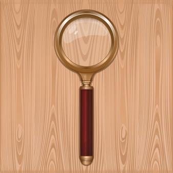 Vergrootglas op een houten achtergrond. goud loep met redwood handvat. loep. leesglas. realistische illustratie