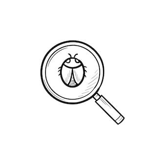 Vergrootglas over bug hand getrokken schets doodle pictogram. computerbug, virus en antivirus, webbeveiligingsconcept