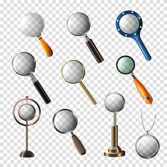 Vergrootglas vector vergroting zoom of zoeken en vergroten onderzoek lens illustratie set