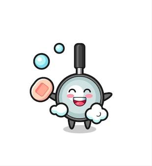 Vergrootglaskarakter is aan het baden terwijl je zeep vasthoudt, schattig stijlontwerp voor t-shirt, sticker, logo-element