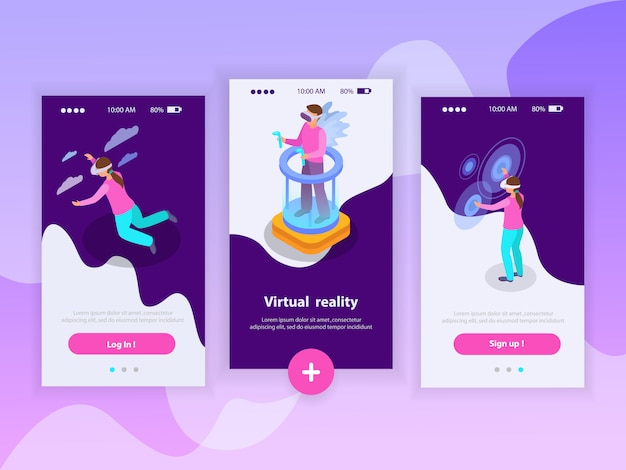 Vergrote werkelijkheids verticale die banners met mensen worden geplaatst die de isometrische geïsoleerde illustratie van vergrote werkelijkheidsglazen gebruiken