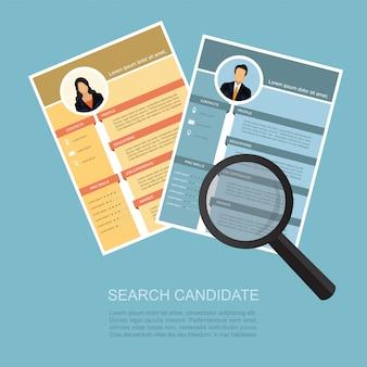 Vergrotende zoom cv hervat het kiezen van een kandidaat voor mensen.