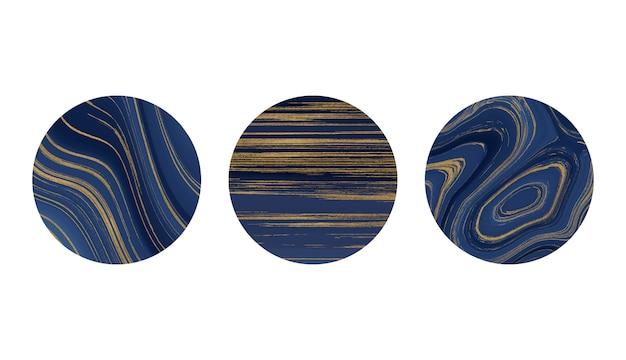 Verhaal hoogtepunten covers met blauwe vloeibare en gouden glittertextuur.