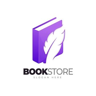 Verhaal leven boek boekwinkel logo boek en veer kleurovergang logo sjabloon
