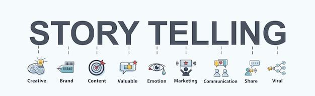 Verhaal vertellen banner web pictogram voor het bedrijfsleven.