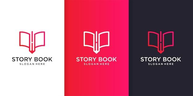 Verhaalboek logo sjabloon met cool en modern lijnkunstconcept premium vector