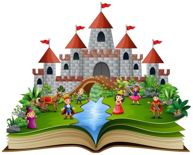 Verhaalboek met koninklijke verhaalcartoon