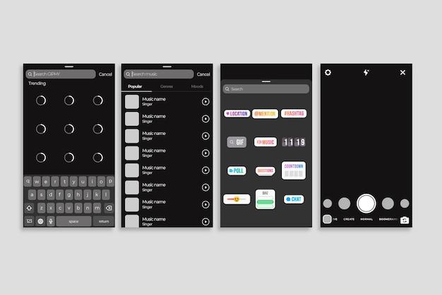 Verhalen interface sjabloon voor instagram