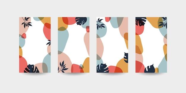 Verhalen sjabloon met abstracte achtergrond met vloeiende organische vormen