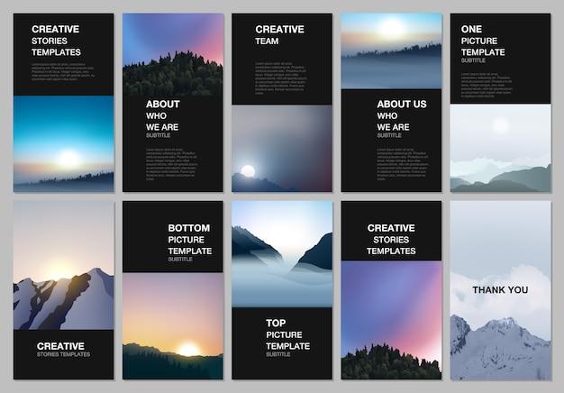 Verhalenontwerp van sociale netwerken, verticale banner of flyer-sjablonen.