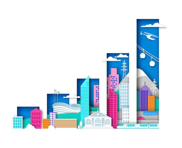 Verhogen staafdiagram met stadselementen stedelijke landschap vectorillustratie in papier kunststijl moderne ci...
