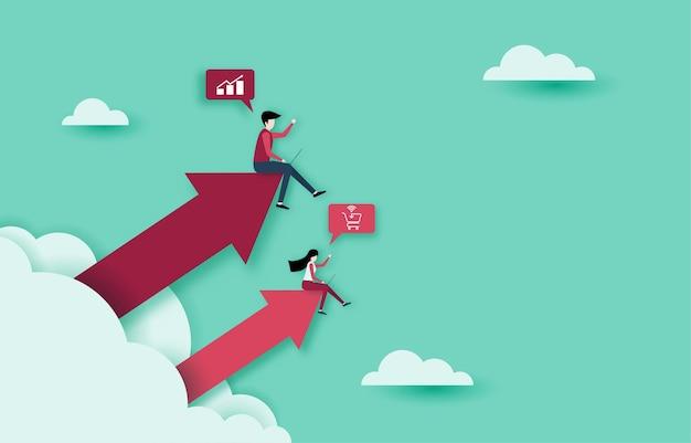Verhogen van inkomsten en investeringen. een succesvol bedrijf dat groeit en financiële winst genereert.