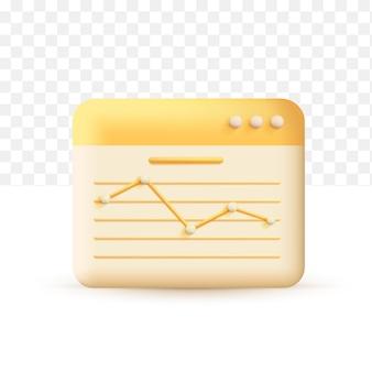 Verhoog de geldgroei. statistiek grafiek concept geel. 3d vectorillustratie op witte transparante achtergrond