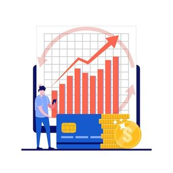 Verhoog de omzet, investeringsbankconcepten met zakenman-karakter.