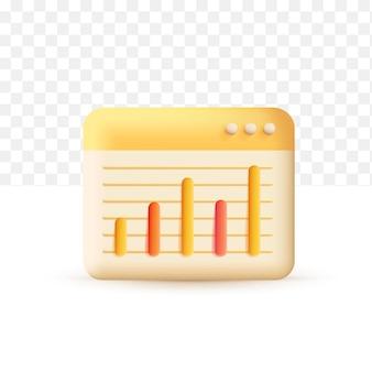Verhoog het concept van de geldgroei geel. 3d vectorillustratie op witte transparante achtergrond