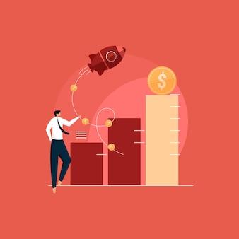 Verhoog het verkoopconcept, bedrijfsgroei met een succesvolle illustratie van de financiële strategie