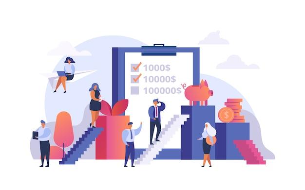 Verhoog winst, geldinvestering, financiële groei