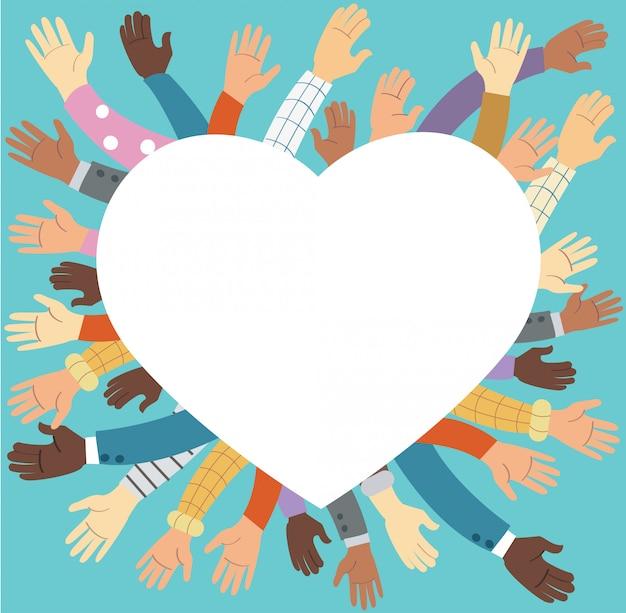 Verhoogde handen vrijwilligerswerk