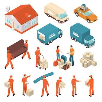 Verhuisbedrijf service isometrische icons set
