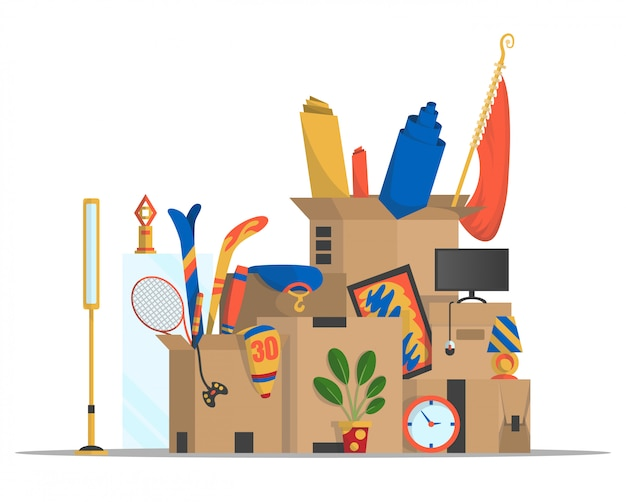 Verhuisdozen. concept voor thuis verhuizen. bedrijf verhuisde naar een nieuw kantoor, thuis. papieren kartonnen dozen met verschillende dingen. familie verhuisd. levering box pakket met verschillende huishoudelijke dingen