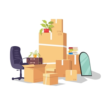 Verhuizen door reden veranderend werk, baan, promotie, loopbaanontwikkeling, ontslag. verhuizing van het ene kantoor naar het andere. werkbenodigdheden en apparatuur in leveringsverpakking. cartoon op wit.