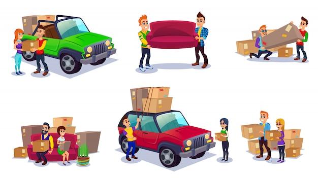 Verhuizen naar een nieuw huis, dozen inpakken in een auto
