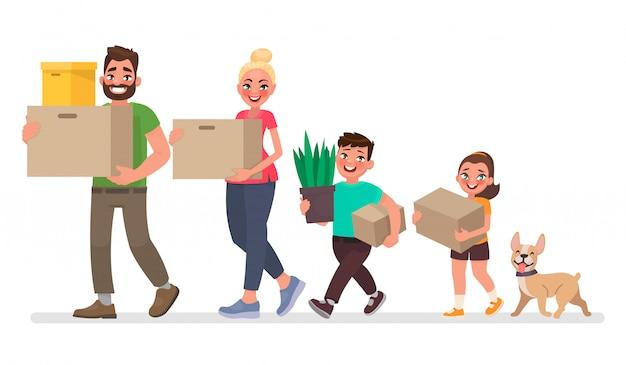 Verhuizen naar een nieuw huis. vader, moeder, zoon en dochter dragen dingen