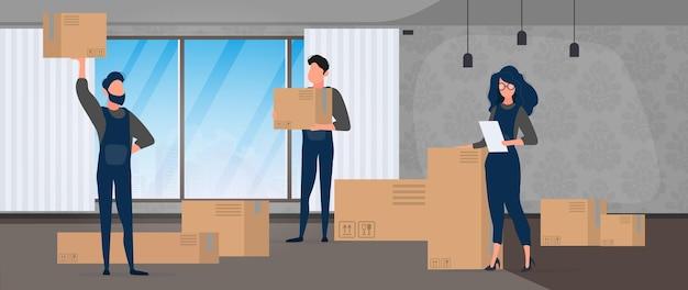 Verhuizen. verhuizing van kantoor naar een nieuwe locatie. verhuizers dragen dozen. het concept van transport en levering van goederen. vector.