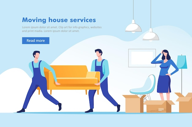 Verhuizen. vrouw die spullen inpakt om naar een nieuw huis of appartement te verhuizen. mannen met bank en kartonnen doos.