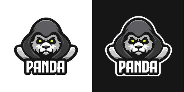 Verhulde panda mascotte karakter logo sjabloon