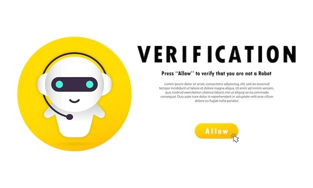 Verificatie banner. druk op toestaan om te bevestigen dat u geen robot bent.
