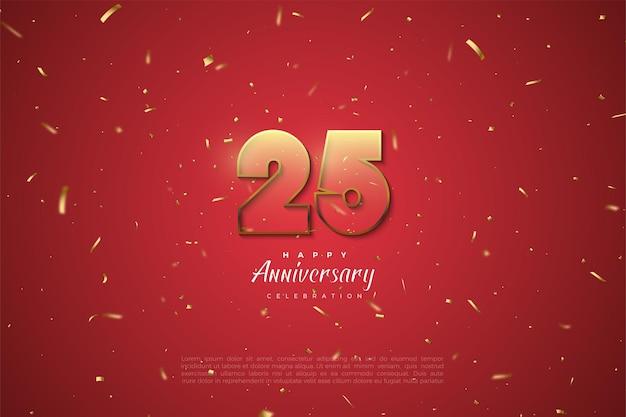 Verjaardag 25 achtergrond met bruin gestreepte nummers op rode achtergrond met gouden vlekken.