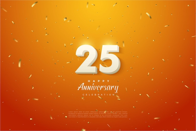 Verjaardag 25e achtergrond met 3d-nummers op oranje en gespikkelde achtergrond.