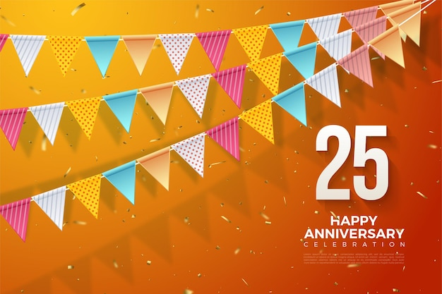 Verjaardag 25e achtergrond met een illustratie van drie rijen vlaggen en cijfers rechtsonder.