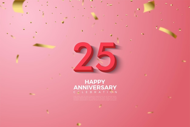 Verjaardag 25e achtergrond met rode cijfers illustratie
