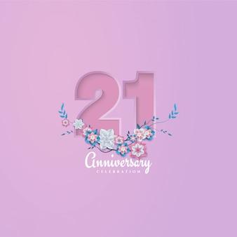 Verjaardag achtergrond met bloemen