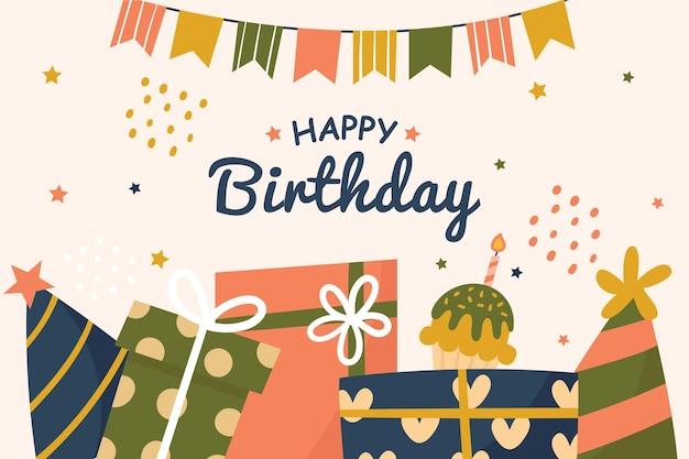Verjaardag achtergrond met cadeautjes en garland