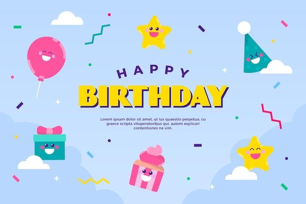 Verjaardag achtergrond met cadeautjes en kegels