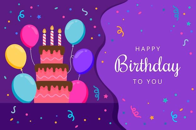 Verjaardag achtergrond met cake en ballonnen
