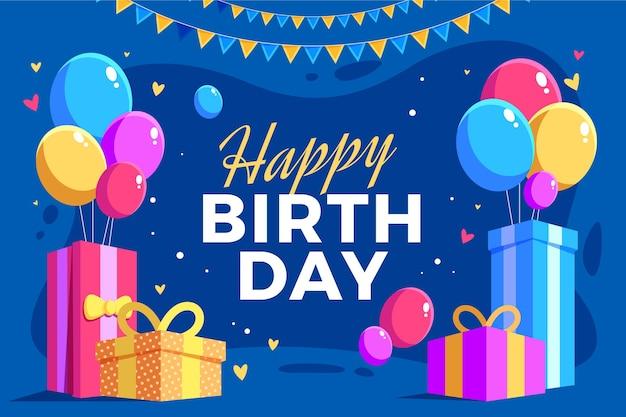 Verjaardag achtergrond met geschenken en ballonnen
