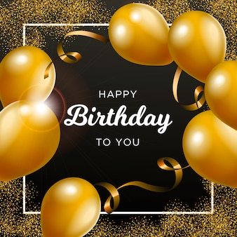 Verjaardag achtergrond met gouden ballonnen