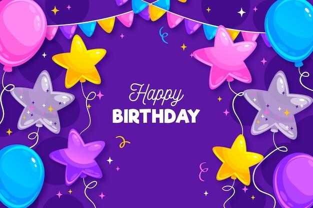 Verjaardag achtergrond met groet en ballonnen