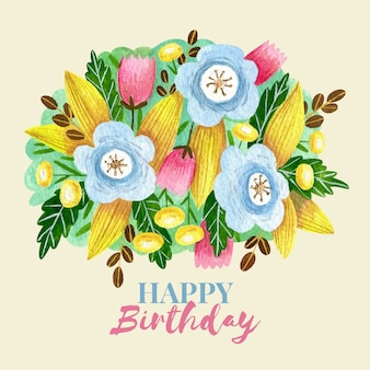 Verjaardag achtergrond met hand getrokken bloemen en bladeren