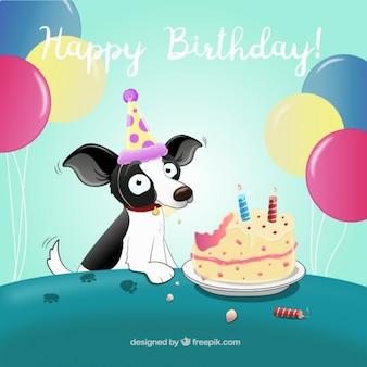 Verjaardag achtergrond met hond