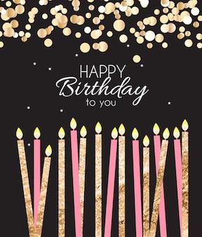 Verjaardag achtergrond met kaarsen.