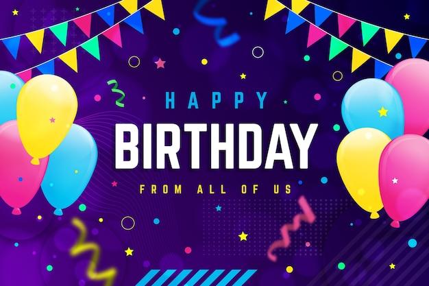 Verjaardag achtergrond met kleurovergang met confetti