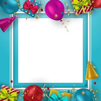 Verjaardag achtergrond met kleurrijke ballonnen en plaats voor uw tekst