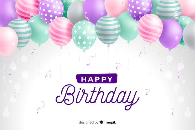 Verjaardag achtergrond met realistische ballonnen Premium Vector